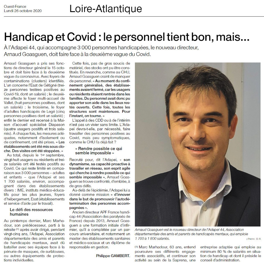 Article-OuestFrance-Arnaud-Goasguen-26-10-2020