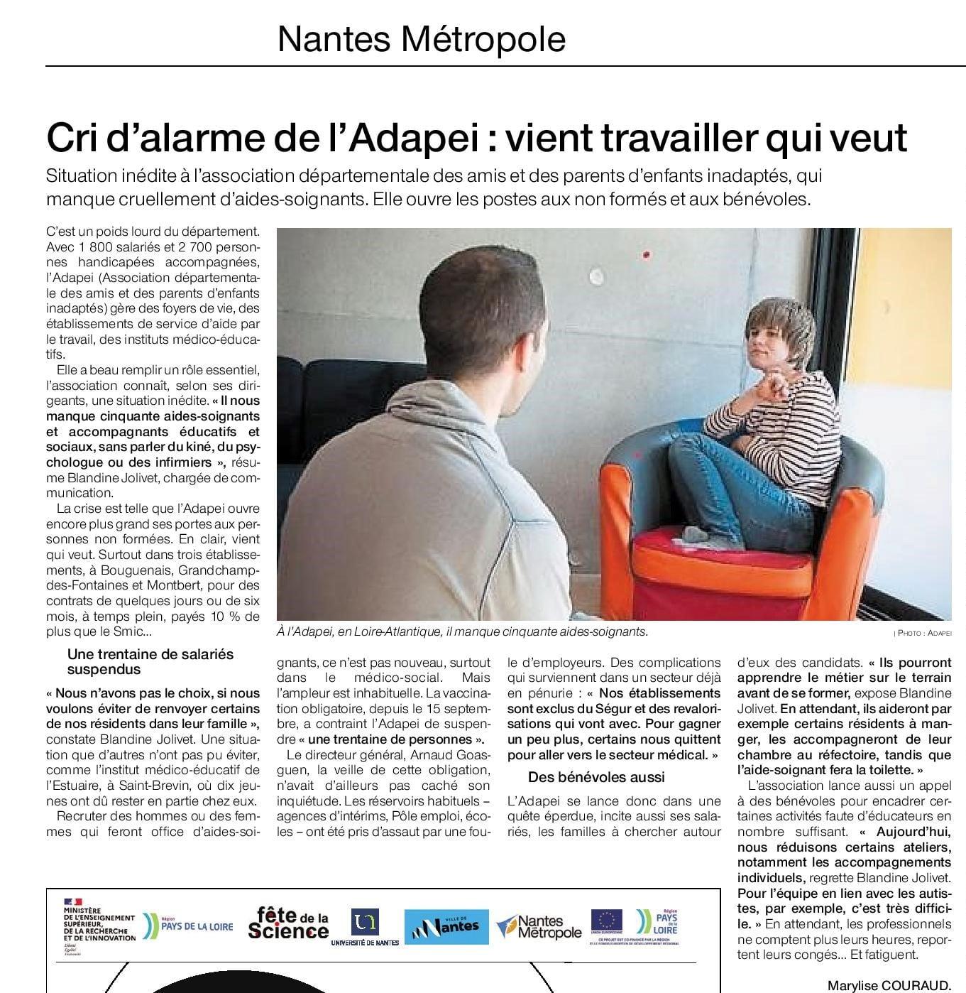 Article Ouest France du 5 octobre : Marylise COURAUD